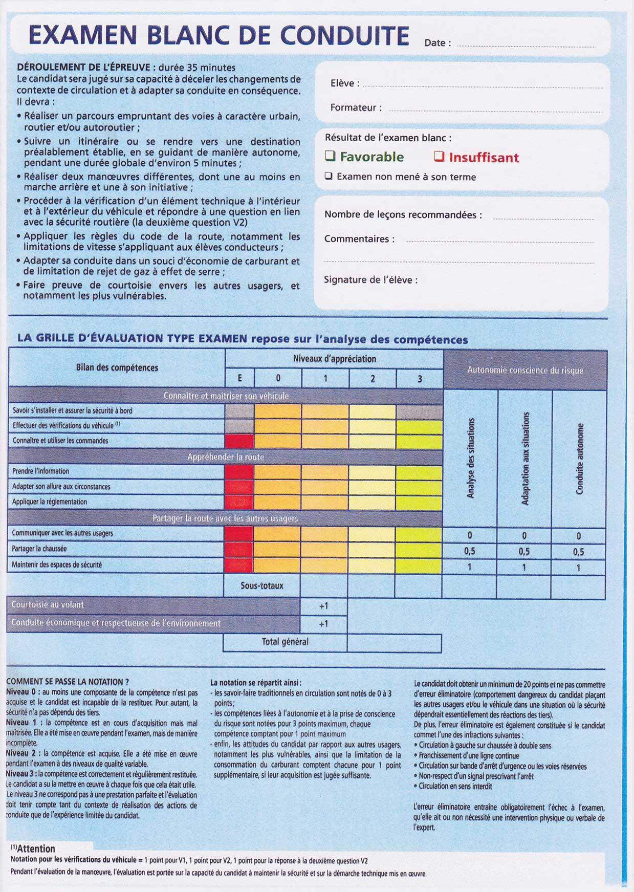 Permis b louvern conduite auto ecole louvern 53950 - Grille d evaluation permis de conduire ...